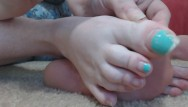 Long clip sexy - Long tiffany blue french pedicure toenails on bbw camgirl get clipped