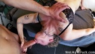 She gags on cocks Watch her gag and squirm while she swallows a big pierced cock