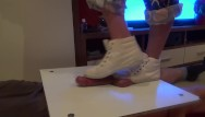 Cock steaker Girl in sneakers trample on cock and balls. ends bootjob and cumshot