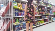 Flashing light strip - Walmart flashing in a mini dress - upskirt - lydia luxy