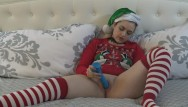 Christmas teen pron - Christmas elf dildo masturbation