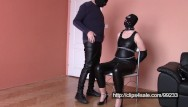 Wife dressed in fetish leather Wife in leather, selfbondage and cum on leather