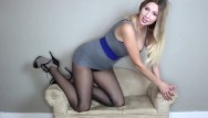 Hot secretary upskirt - So erotic hot blonde secretary in tight skirt stockings shakes her ass