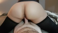 Milf thigh highs sex Reverse cowgirl with thigh high socks has explosive orgasm and cum in pussy