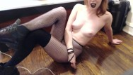 Femdom toilet tube Goth gives humiliation, toilet sissy instructions