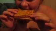 Adult grilling accessories Amanda fat ass eats 2 grill cheese sandwhichs making her fatter