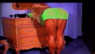 Sexy high heel dress Extreme muscular calves show in green dress and heels by ldr calf queen
