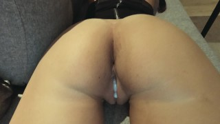 Pink pussy creampied