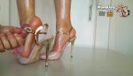 Vintage hand oil pump Handjoy cumshot on goddess hiras sexy oiled feet and pink pumps