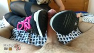 Yoga workout sex Handjoy footjob after workout - sneakers, yoga pants, feet videorequest