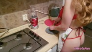Sexy cooking with katie Sexy blonde cooking and waiting for her horny man from work
