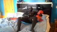 Gay spandex movie Orca frogman playing with spiderman dummy