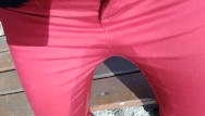 Free outdoor pissing Pee on my new red jeans outdoor