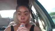 Pop popular facial cream Ebony big lips sucking ice cream pop outside in car - cami creams