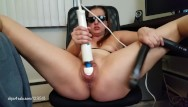 Double dong fetish Hitachi and black double dong destroying my meaty pussy