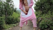 Adult hippie costumes Risky public dildo fuck in a furry onsie freckledred