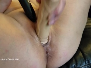 Close up fingering and small dildo fucking