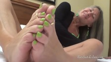 Milf Foot Tease with Neon Green Toes