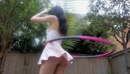 Anna hathaway upskirt - Hula hooping with no panties tons of upskirt
