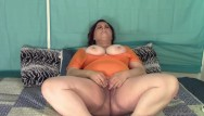 Mautre tits in tops Smoking and masturbating in orange top