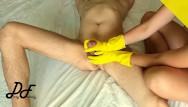 Adult rib hump Cock massage in yellow ribbed gloves, slow handjob dirtyfamily