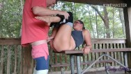 Hot bimbos gets fucked in public - Milf in yoga pants getting fucked on picnic table - dont get caught