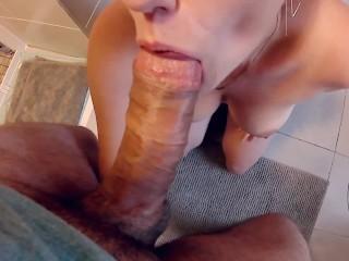 POV bathroom blowjob! Cumshot on her giant tits