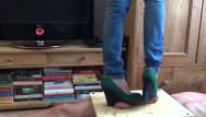 Footjob trampling - Cockcrush trample footjob with wedge - cbt trample