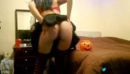 Hairy pussy halloween - Adolecente putita baila de gata y mamada termina en la boca halloween