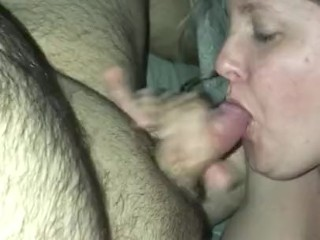Hot blonde slut takes cock down her throat