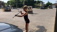 Spanked man mini skirt wife - Wife in mini skirt high heels flashing great ass at outdoor carwash