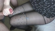Teen legs in pantyhose - Teen handjob - cum on legs in sexy pantyhose