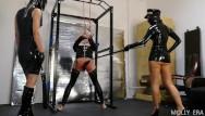 Tied latex Latex dominatrix couple punish tied up slave