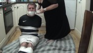 Fetish duct tape - Footballer bound and gagged tight in duct tape 2