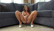 Vintage tin tile - Stunning adriana chechik squirts all over the white tile floor