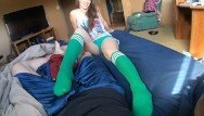 Knee high socks teen Starting the day with a sexy sock job