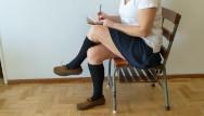 Recess sex Cum on schoolgirls socked foot during recess shoefuck and sockjob