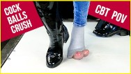 Patent leather fetish Ballbusting and cock balls crush in patent leather boots and socks cbt pov