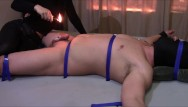 Extream male bondage Extreme cbt pain on penis and balls from deep heat and candle wax.
