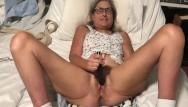 Pussy masturbates Milf in glasses spreads pussy and masturbates with black rabbit mature