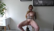 Penny play bdsm Bound orgasm torture - tied up, ballgagged, and squirting