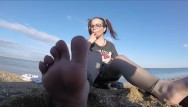 Nude beach teens galleries Tiny feets worship , pussy control pissing on beach