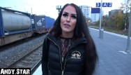 Teen pron star Young bitch pregnant on railway station toilet