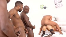 Private Black - Teared Up Babe Florane Russell Drilled By 4 Black Cocks!