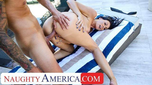 naughty america - sharon fuller (reagan foxx) fucks poolside outdoors