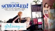 Free teen lesbian teacher Teen caught in teachers lounge by 2 milfs gets schooled- girlsway