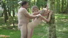 Beautiful teens hot old and young fuck with grandpa in the woods