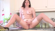 Juicy housewife thumbs - Horny housewife eva johnson strips and opens long nylon legs for juicy wank