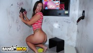 Cocks in walls Bangbros - random cocks poking through hole in the wall for hungry milf