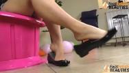 Short flat naked girls Barefoot girl shoeplay in shiny ballet flats